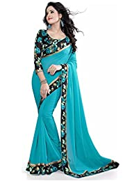 J.AnanD Women's Party Wear Georgette Saree With Art Silk Blouse Piece (Rama_Free Size_J.A.SA023)