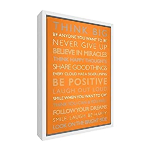 Feel Good Art Giclée Printed Canvas with Solid White Wooden Frame Surround &ltBe Positive&gt, 64 x 44 x 3cm (Large), Wood Orange, 60 x 40 cm