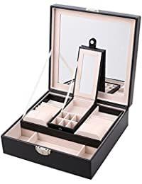 J.Rosée PU Joyero de Dos Capas para Pendientes Anillos Pulseras y Collares de Joyerías con Espejo Grande, Color Negro