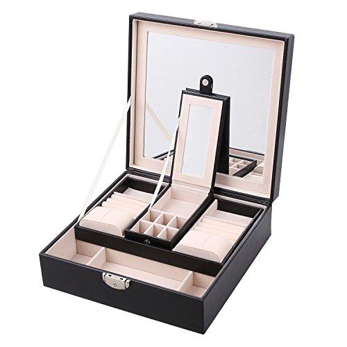 JRose-Caja-Joyero-de-Dos-Capas-para-PendientesAnillos-Pulseras-y-Collares-de-Joyeras-con-Pantalla-Grande-Soporte-de-Exhibicin-de-Joyeras-Caja-Vitrina-Color-Negro