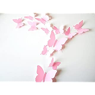 Clest F&H 12pcs 3D Art Butterfly Decal Wall Sticker Home Decor Room Decoration Christmas Gift (Pink)