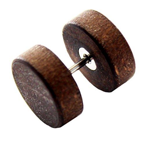 eeddoo Ohrstecker Fake-Plug Braun Ahorn-Holz 10 mm -