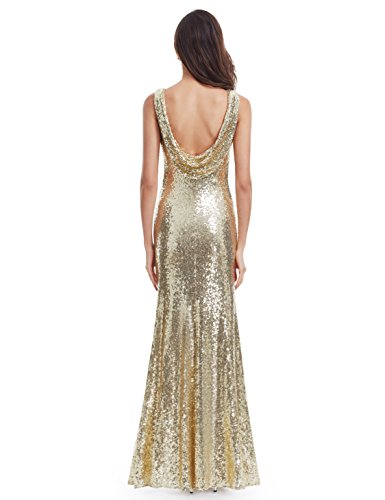 Ever Pretty Lang Pailletten Elegant Partykleid Cocktailkleid Abendkleid 38 Gold - 2