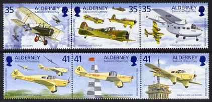 Guernsey - Alderney 1995 Birth Centenary of Tommy Rose (aviator) perf set of 6 u/m SG A78-83 PERSONALITIES AVIATION MILES JandRStamps