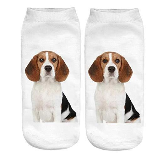Y56 3D Animal Druck Frauen Knöchelsocken Sportsocken Winter Warm Bunt Socken Weihnachten Geschenke Funny Crazy Cute Dogs Erstaunliche Neuheit Print Söckchen (D) -