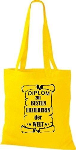 shirtstown Borsa di stoffa DIPLOM A MIGLIOR erzieherin DEL MONDO giallo dorato