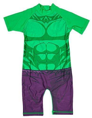 Muskel Unglaubliche Kostüme (Jungen Unglaubliche HULK alles in eins Sonnenschutz Surf Badeanzug Kostüm größen von 1,5 bis 5 Jahre - Grün, 2-3)