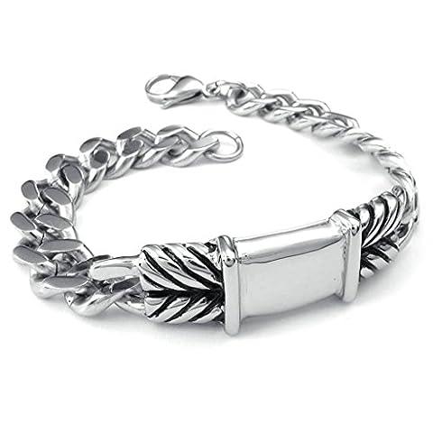 AMDXD Schmuck Herren Armband Edelstahl Rechteck Silber Armkette