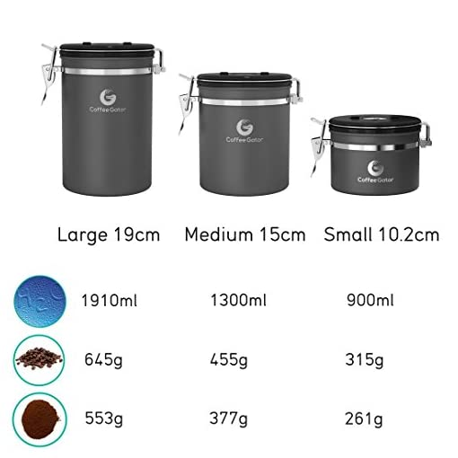 Coffee Gator Stainless Steel Container – Fresher Beans and Grounds for Longer – Canister with Date Tracker, CO2-Release Valve and Measuring Scoop – Medium (Stainless Steel and Grey, 2 Pack)