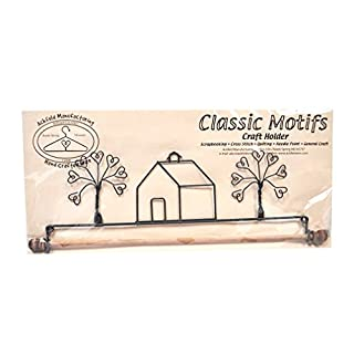 Ackfeld Manufacturing Classic Motifs School House and Heart Tree 12 Inch Fabric Holder With Dowel