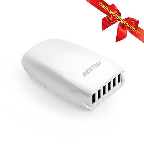 USB Netzteil 6-Port Ladegerät QC 2.0, BESTEK Ladegeräte, Quick Charger für Handys, Smartphones, Kindle 5V / 7.2A, weiß