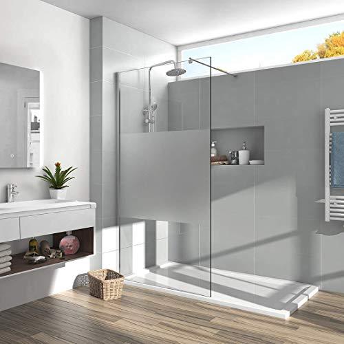 Meykoe 90x200cm Walk in Dusche Walk in Duschwand aus 8mm ESG-Sicherheitsglas Duschabtrennung Duschtrennwand mit Nano-Beschichtung - Teil Satiniert