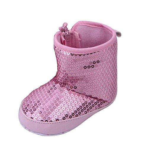 BZLine® Mädchen Baby Pailletten weiche Sohle warme Schuhe Stiefel Pink