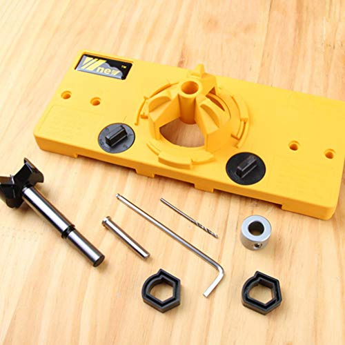Leoboone 35mm verdeckte Scharnier Jig Drill Guide Set Holz Lochsäge Bohrer Locator Tür Bohrloch Vorlage & Bit Positioner Tool (Tür-scharnier Jig)