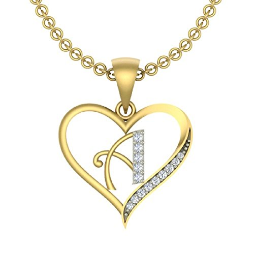 "Kanak Jewels Initial Letter ""A"" In Heart Shaped With Chain Gold Plated Cubic Zirconia Brass Pendant For Everyone"