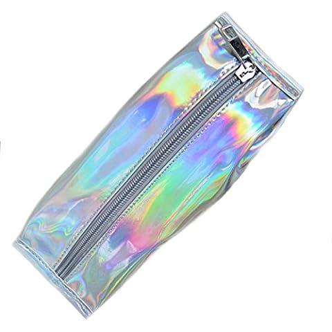 Candy Farbe Hologramm Pen Bleistift Case Cracker Box Design Fashion Pen Halterung Münze Portemonnaie von millya Einheitsgröße (Münze Silber Fall)