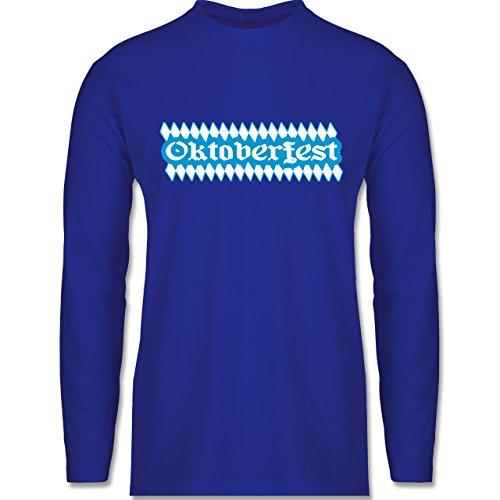 Oktoberfest Herren - Oktoberfest Rauten - Longsleeve / langärmeliges T-Shirt für Herren Royalblau