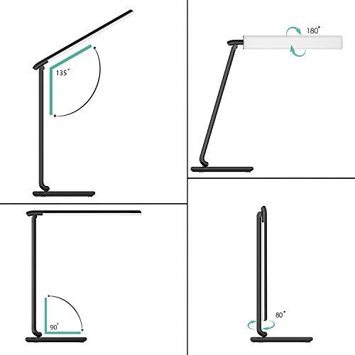 AUKEY LT T10   Lámpara Escritorio  Flexo LED con 5 Modos  7 Niveles de Brillo  Puerto USB de Carga  Mini Luz Nocturna y Múltiples Ángulos Ajustables  Control Táctil