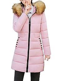 FNKDOR Longue Manteau Femme Hiver Chaud Veste en Fausse Fourrure À Capuche  Épaisse Slim Fit Blouson fcc75093757