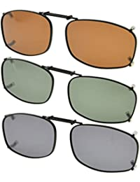 Eyekepper Grey/Brown/G15 Lens 3-pack Clip-on Polarized Sunglasses 50x31mm