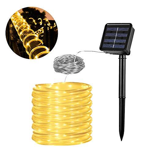 Solar Lichtschlauch Lichterkette, Vegena 12 M 100 LED 8 Modi Wasserdicht IP65 lichtschlauch außen für Garten,Pavillon, Hochzeit,Party und Weihnachten (Warmweiß)