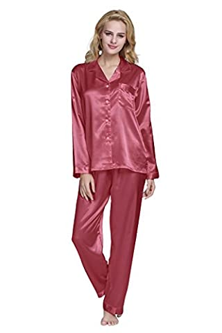Damen Schlafanzüge Lang Satin Lang Pyjama Set Nachtwäsche von TONY & CANDICE (XL, Hell Burgund)