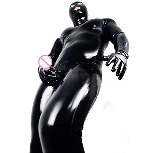 Kostüm Catwoman Alte - LNNII - Sexy Männer Und Frauen Wet DS Look Catsuit Kleidung Erwachsene Enge Kunstleder Trikot Gefangener Cosplay Kostüm Handschuhe Maske Trikot,Black,XXL