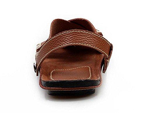 SHIXR Pantoufles à dos ouvertes pour hommes Vert Sandales respirantes Cuir confortables Sandales décontractées Chaussures de plage Cuir Extérieur light brown