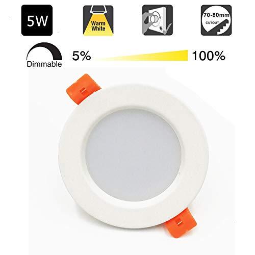 Foco LED Empotrable Redondo,5W,3000K Blanco Cálido, Regulable,450 Lumens,IP44,Foco LED para Hogar, Oficina,...