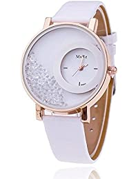 Market Magic World Girl's White Leather Analogue Watch (Woman's Watch_MX_Re_White )
