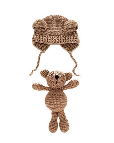 Neugeborenen Fotoshooting Kostüm Junge Mädchen Bär Mützen Fotographie Prop Crochet Geschenk Baby Kleidung Neuborn Dunkler Kaffee