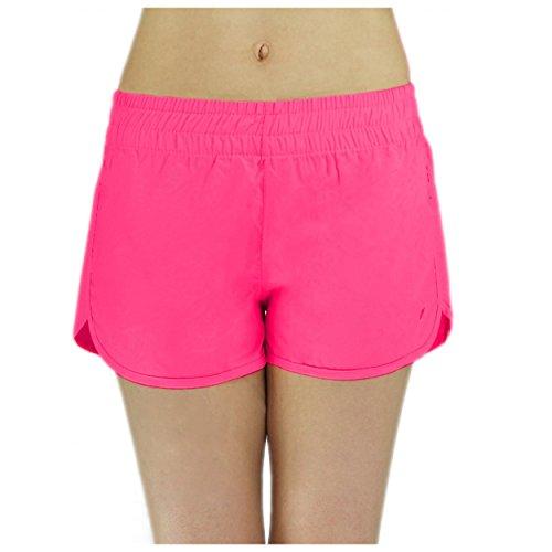 Badeshorts Damen Boardshorts Strandshorts Beach Shorts Kurz Lässige Sommershorts Hotpants (38 / M, Muster 1 - Rosa)
