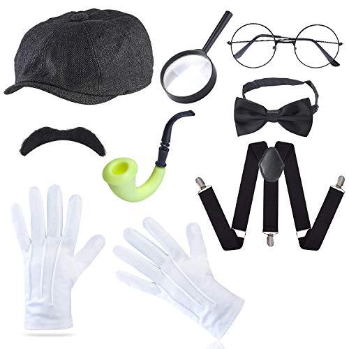 Zubehör Kostüm Detektiv - Beefunny Detective Zubehör-Set Kostümzubehör-Set, Detektivhut, Lupe, Tabakspfeife, Kostüm-Set (Schwarz4)