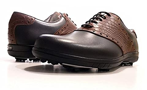 Delux Classic PORTMANN® golf shoes | Durable full grain waterproof leather | TPU Sole (BLACK CAL.\ BROWN CROC, UK 9.5\44)