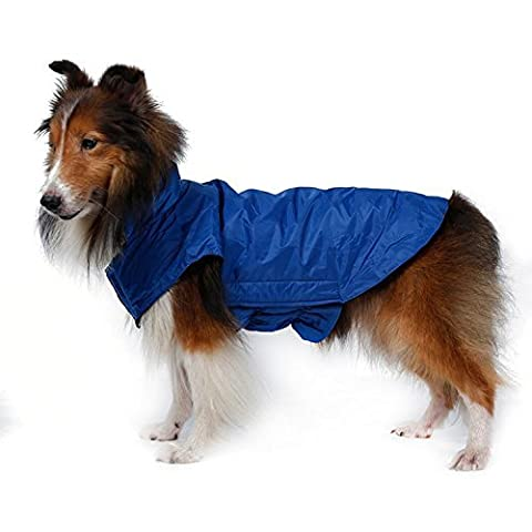 Waterproof Dog Coat Jacket, Akemiao Fleece Lined for Warmth, Chest Protector, Reflective Piping for Night Safety