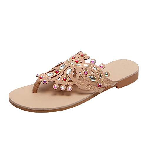 Pingtr - Damen Sandalen Pantoletten Hausschuhe,Womens Summer Flat-Bottom Schuhe Strass Wild Bohemian Roman Sandals Slippers Natural Woman Sandale