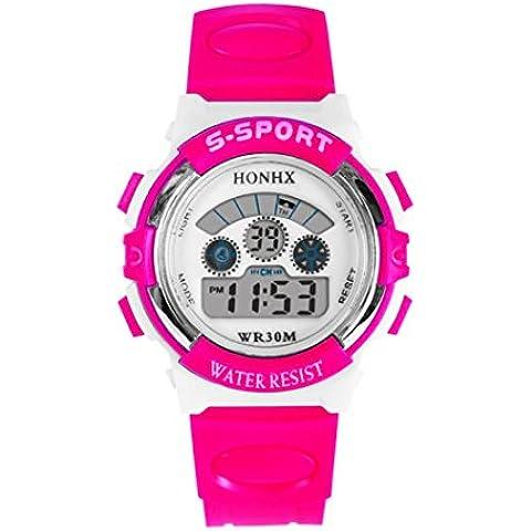 Reloje Hombre Niños,Xinan LED Digital Quartz Reloj Fecha Relojs de Pulsera Deportivo (Rosa)