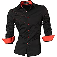 Jeansian Hombre Camisas Moda Manga Larga Men Fashion Slim Fit Casual Long Sleeves Shirts 2028
