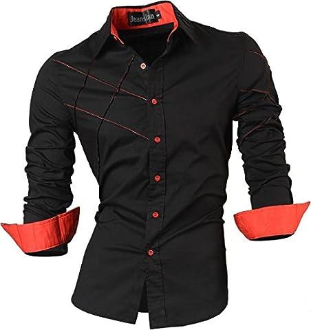 jeansian Homme Chemises Casual Shirt Tops Mode Men Slim Fit 2028 Black XXL