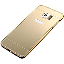 2 en 1 Parachoques del Metal Aluminio + PC Back Cover Funda para Samsung Galaxy S6 Edge G9250,Yihya Ultra Thin Carcasa Metal Frame Bumper Espejo Efecto Trasera Protectora Case Skin--Oro