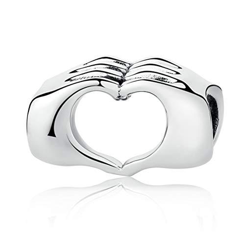 S925Sterling Silber I love you Herz in Händen Charm Bead für Pandora Biagi Chamilia & Trollbeads Armbänder
