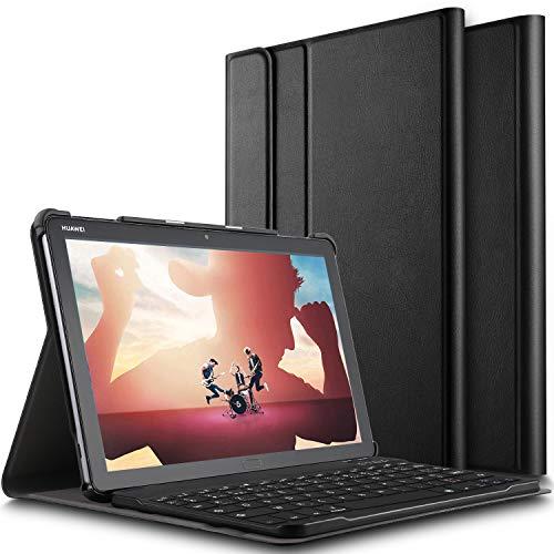 ELTD Clavier Étui pour Huawei MediaPad M5 Lite 10 Pouces,[AZERTY], Détachable Wireless Clavier Keyboard Stand PU Case Housse pour Huawei MediaPad M5 Lite 10 Pouces Tablette, Noir