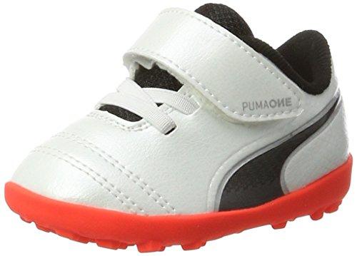 Puma Unisex-Kinder One 17.4 TT V Inf Fußballschuhe, Weiß (White-Black-Fiery Coral), 22 EU (Puma Kleinkind Schuhe)