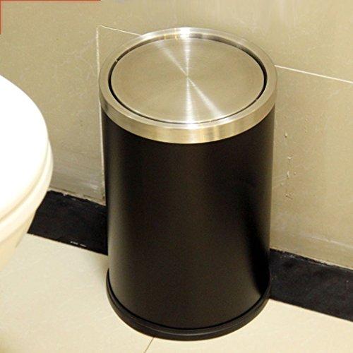 DTH Mülleimer Edelstahl Swivel Abdeckung Haushalt Küche Innen Mülleimer WC Schlafzimmer Müll Barrel 12L (Farbe : Schwarz) (Barrel Schwarz Swivels)