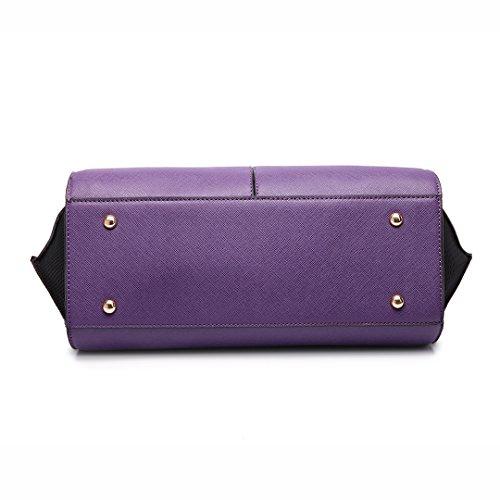 Miss LuLu Damentasche Elegant Handtasche Winged Tote Bag Groß PU-Leder Zweifarbig LT6625-Violett/Schwarz