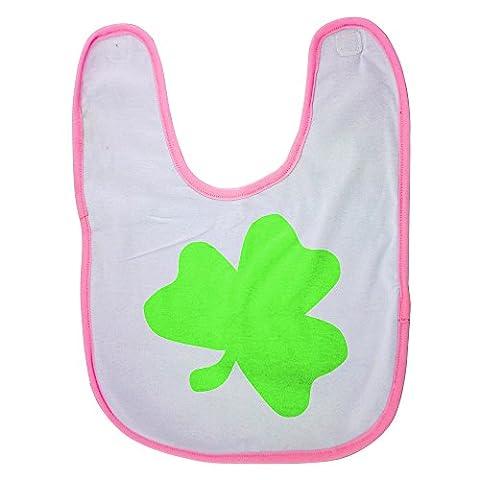Pink baby bib with Light green shamrock
