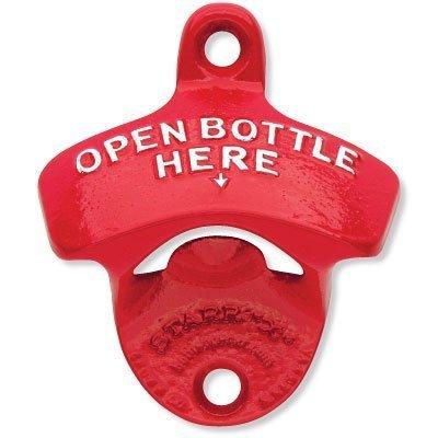 1 X Red Open Bottle Here Starr X Wall Mount Bottle Opener - Powder Coated - New! by Starr X Wall Mount Bottle Opener