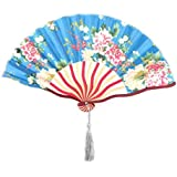 SLB Works Bamboo Frame Floral Printed Home Tassel Decor Retro Style Hand Fan 37cm Width