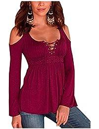 SHUNLIU Damen Sommer Mollige Oberteile Modern Langarm V-Ausschnitten  Einfarbig casual Blusen in Große Größen mollige tops… 6d275b4ec6