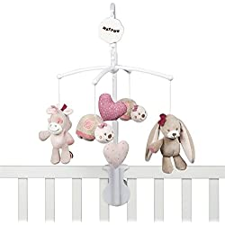 "Nattou Mobile Musical avec Peluches Nina, Jade et Lili, Berceuse Douce ""La-Le-Lu"", 48 x 7 x 15cm, Beige/Rose/Blanc"